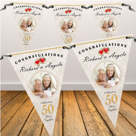 Personalised Golden 50th Wedding Anniversary PHOTO Flag Bunting Banner - N62